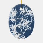 Blue and white stark leaves graphic cutout christmas tree ornament