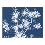 Blue and white stark leaves graphic cutout postcard