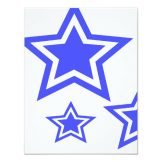 "Blue And White Stars 4.25"" x 5.5"" Paper 4.25x5.5 Paper Invitation Card"