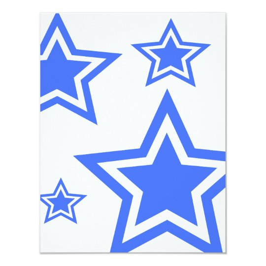 """Blue And White Stars 4.25"""" x 5.5"""" Paper Card"""