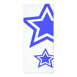 "Blue And White Stars 4"" x 9.25"" Paper 4x9.25 Paper Invitation Card"