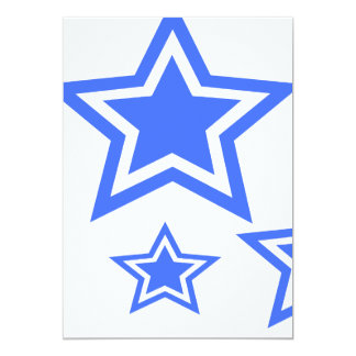 "Blue And White Stars 5"" x 7"" Paper 5x7 Paper Invitation Card"