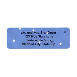 Blue and White Stars Blended Blue Address Labels