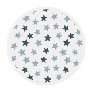 Blue and White Stars Edible Frosting Rounds
