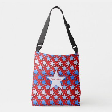 linda_mn Blue and White Stars on Red Background Crossbody Bag
