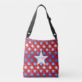 Blue and White Stars on Red Background Tote Bag