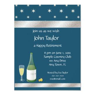 "Blue and White Stars Retirement Party Invitation 4.25"" X 5.5"" Invitation Card"