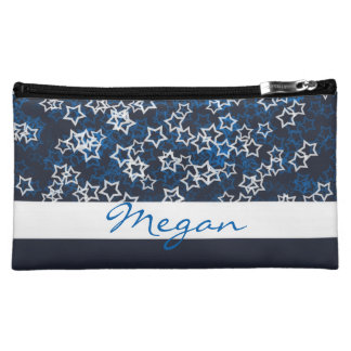 Blue and white stars stripe navy with name makeup bag