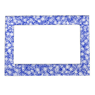 Blue and White Stars Team Spirit Sports Colors Magnetic Photo Frame