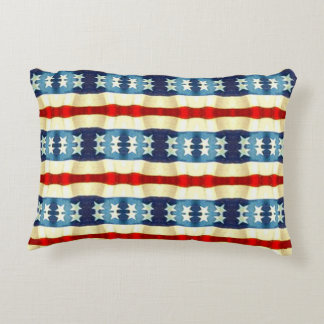 BLUE AND WHITE STARS VINTAGE PATTERN DECORATIVE PILLOW