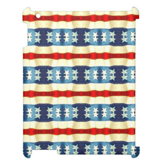 BLUE AND WHITE STARS VINTAGE PATTERN iPad CASE