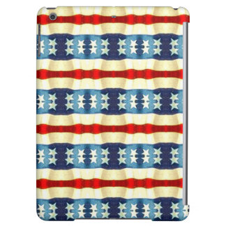 BLUE AND WHITE STARS VINTAGE PATTERN iPad AIR CASE