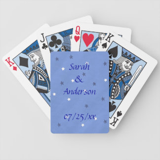 Blue and White Stars Wedding Playing Cards