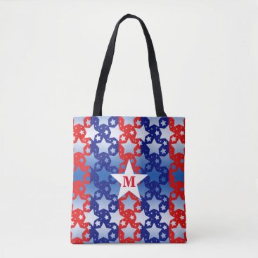 linda_mn Blue and White Stars With Red Blue Stripes Tote Bag