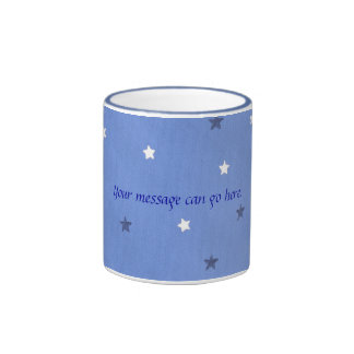 Blue and White Stars Your message Custom Mugs