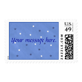 Blue and White Stars Your message Postage Stamps