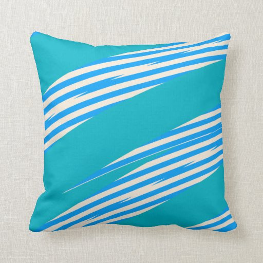 Blue White Throw Pillow : Blue And White Strikes Throw Pillow Zazzle