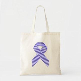 Blue and White Stripe Awareness Ribbon Tote Bag
