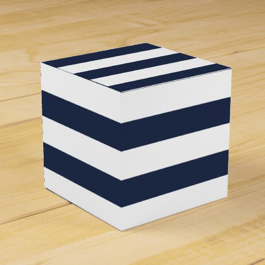 Blue Lightning Favor Boxes : Blue and white stripe nautical wedding party favor