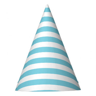 Blue and White Stripe Pattern Party Hat