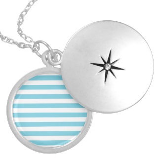 Blue and White Stripe Pattern Silver Plated Necklace