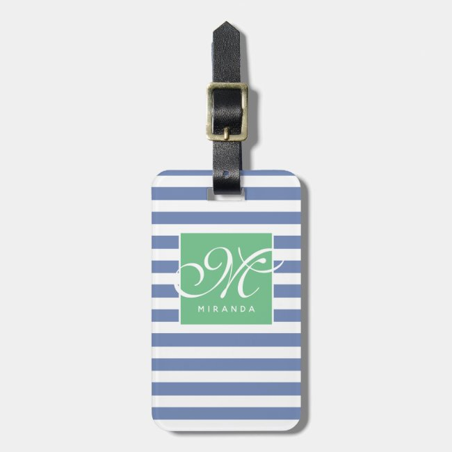Blue and White Striped and Green Frame - Monogram