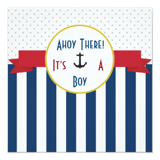 Blue and white striped baby shower invitation