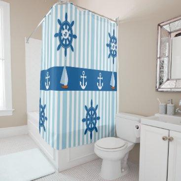 Beach Themed Blue and White Striped Beach Monogramed design. Shower Curtain