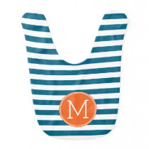 Blue and White Striped Pattern Orange Monogram Bib