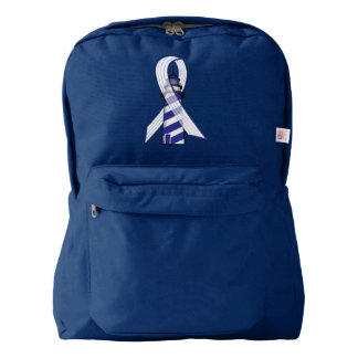 Blue and  White Striped Ribbon Lou Gehrig's ALS American Apparel™ Backpack