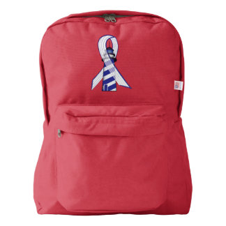 Blue and  White Striped Ribbon Lou Gehrig's ALS Backpack