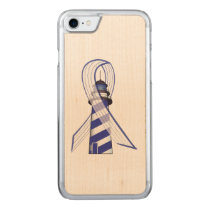 Blue and  White Striped Ribbon Lou Gehrig's ALS Carved iPhone 7 Case