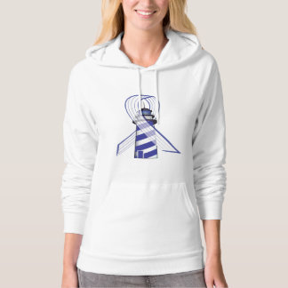 Blue and  White Striped Ribbon Lou Gehrig's ALS Hoodie