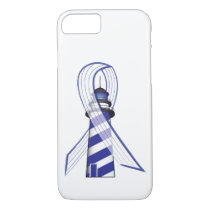 Blue and White Striped Ribbon Lou Gehrig's ALS iPhone 7 Case