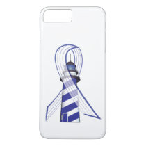 Blue and White Striped Ribbon Lou Gehrig's ALS iPhone 7 Plus Case