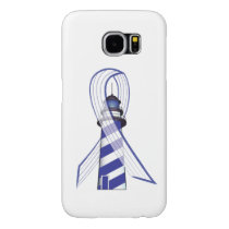 Blue and  White Striped Ribbon Lou Gehrig's ALS Samsung Galaxy S6 Case