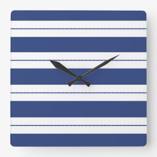 Blue and White Striped Square Wall Clock