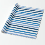 "Blue and White Striped Wrapping Paper<br><div class=""desc"">Colorful blue and white stripes.</div>"