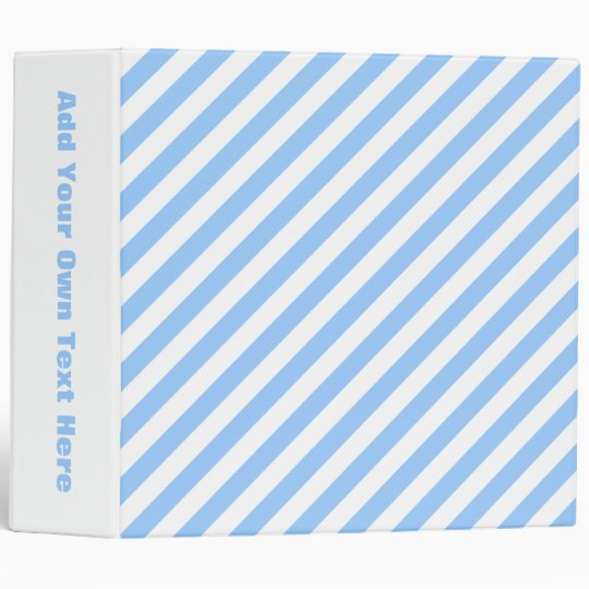 Blue and White Stripes. 3 Ring Binder