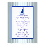 Blue and White Stripes Bon Voyage Party Custom Announcement