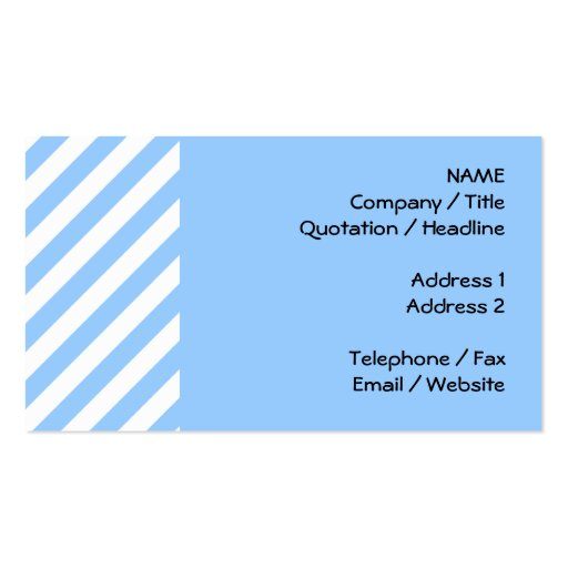 Blue and White Stripes. Business Cards