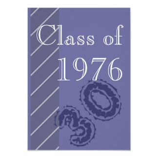 Blue and white stripes Class reunion party Card