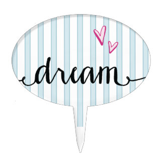 Blue and White Stripes Dream Hearts Cake Toppers