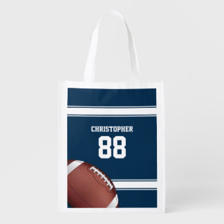Blue and White Stripes Jersey Football Grocery Bag