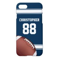 Blue and White Stripes Jersey Football iPhone 7 Case