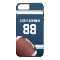 Blue and White Stripes Jersey Football iPhone 7 Plus Case