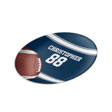 Blue and White Stripes Jersey Football Porcelain Plates
