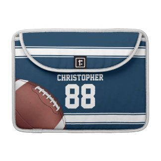 Blue and White Stripes Jersey Football Sleeve For MacBooks