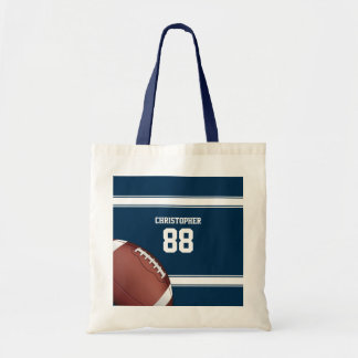 Blue and White Stripes Jersey Football Tote Bag