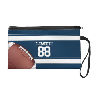 Blue and White Stripes Jersey Football Wristlet Purse